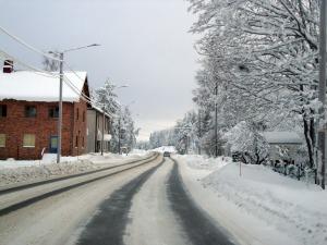 Kuva Niinisalon keskustasta Niinisalonkadulta kohti Varuskunnantietä talvella 2010. Kuva: Kirsi Jaakkola.